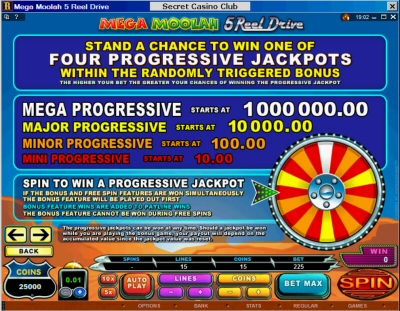 5 Reel Drive Mega Moolah Progressive Slot Machine Paytable