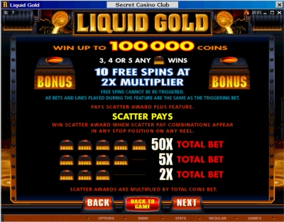 Free Spin Liquid Gold Paytable