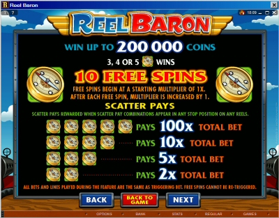 Reel Baron Bonus Paytable