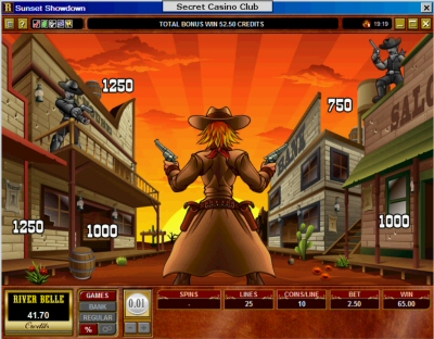 Sunset Showdown slot machine shots