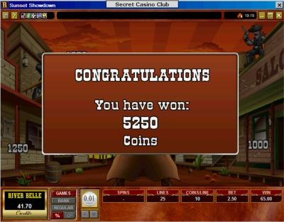 Sunset Showdown slot machine bonus feature win