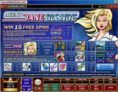Agent Jane Blonde slot machine paytable