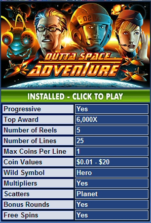 Outta Space Adventure™ Slot Machine Game to Play Free in Cryptologics Online Casinos