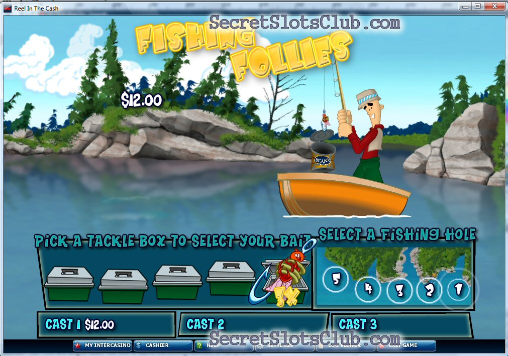 Secret casino club reel in the cash fishing folly feature for Fish for cash